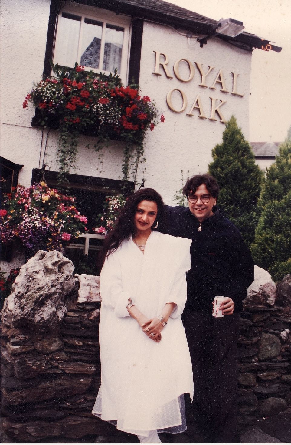 Rekha with the writer, Khalid Mohamed in UK's Lake District.