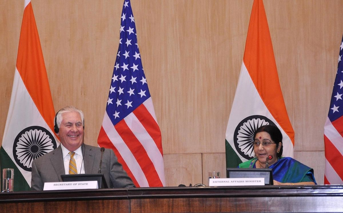 External Affairs Minister Sushma Swaraj and US Secretary of State Rex Tillerson during a joint press conference in New Delhi on 25 October 2017.