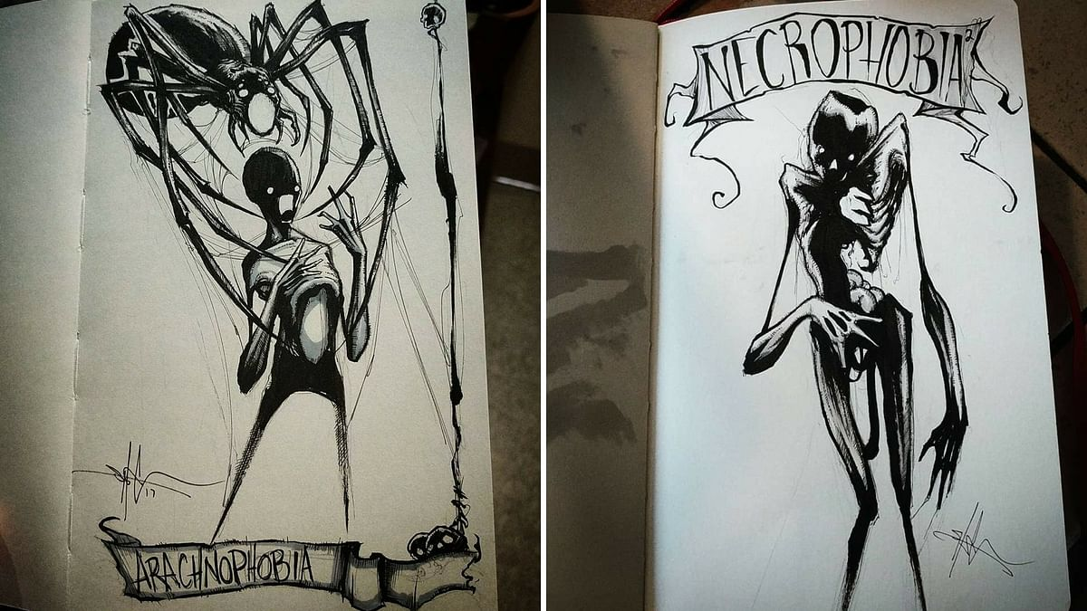 Arachnophobia, a fear of spiders (L); Necrophobia, a fear of death/dead bodies (R).