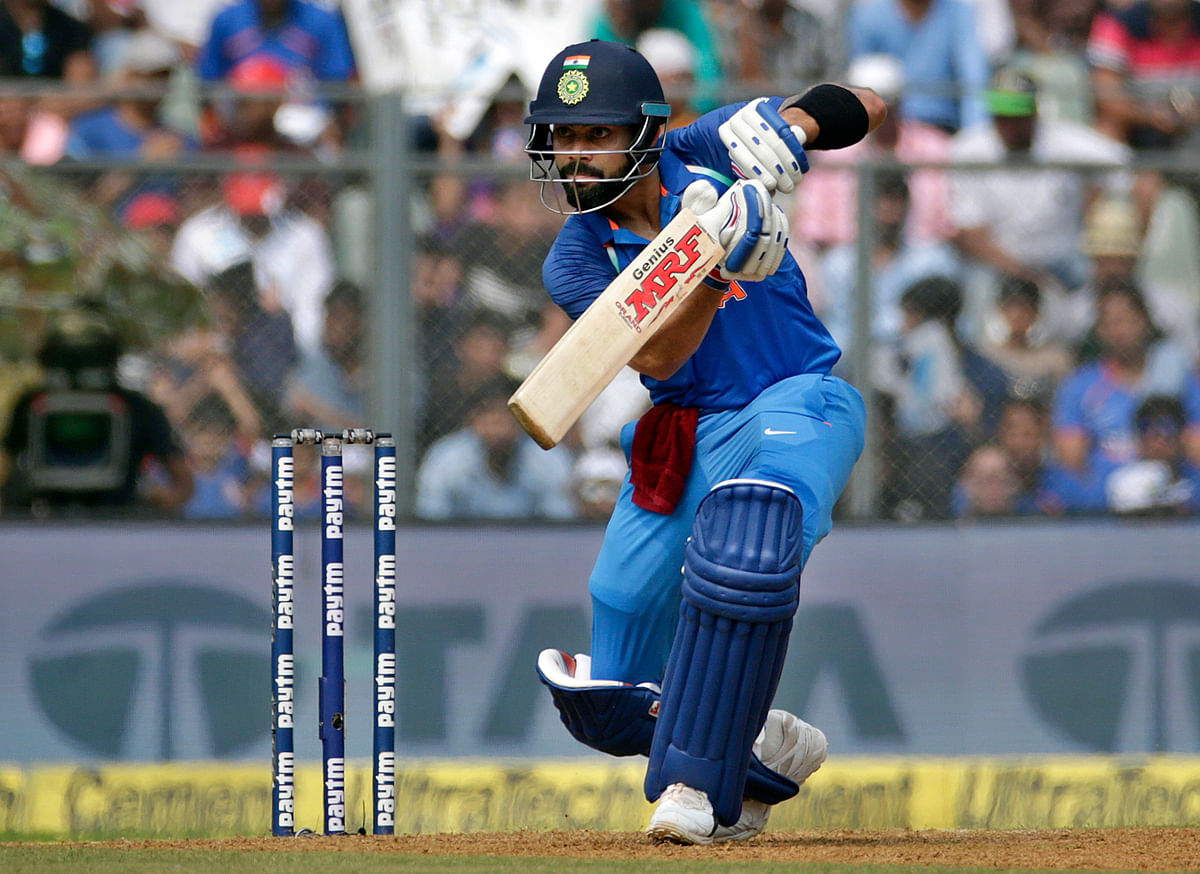 Virat Kohli plays a shot during the first ODI.