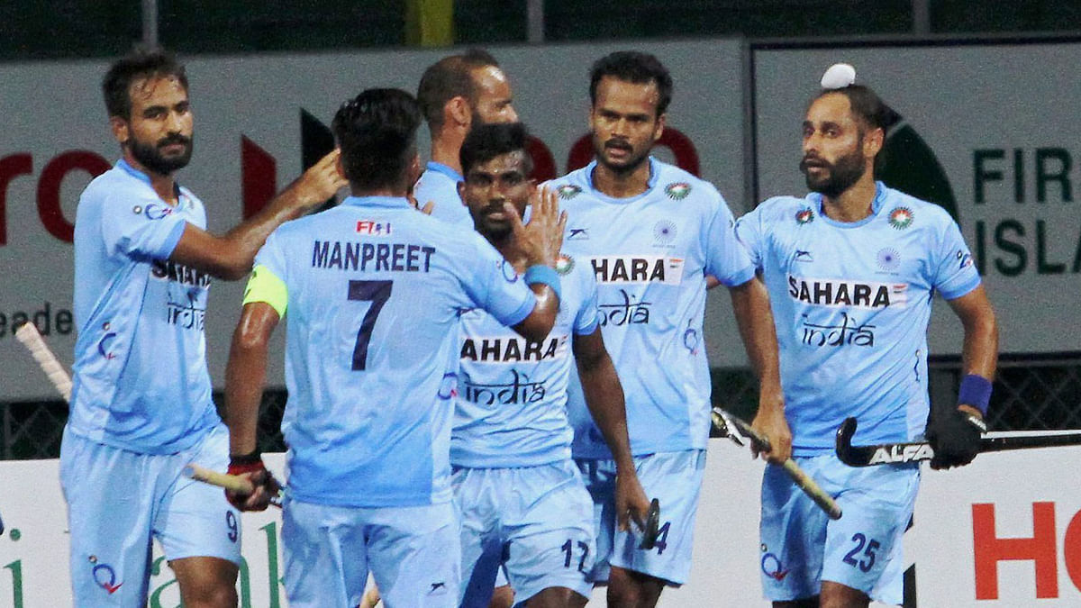 File photo of the Indian team celebrating a goal.