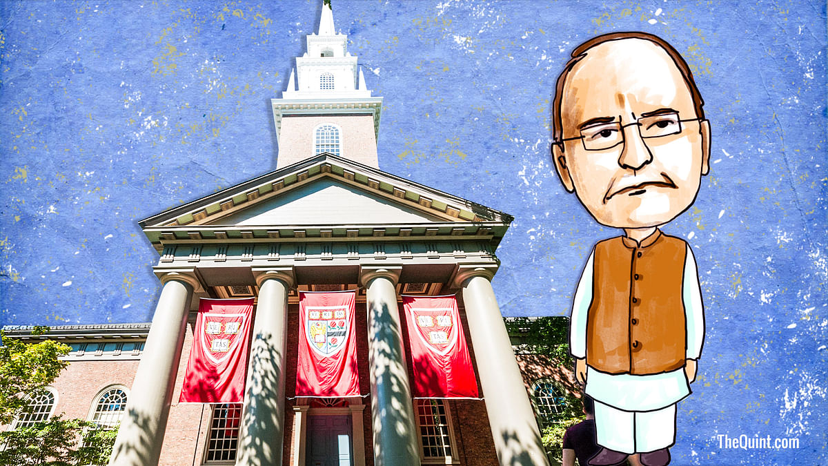 Defensive approach on note ban and economy-related issues dominated Jaitley's interaction with students at Harvard.