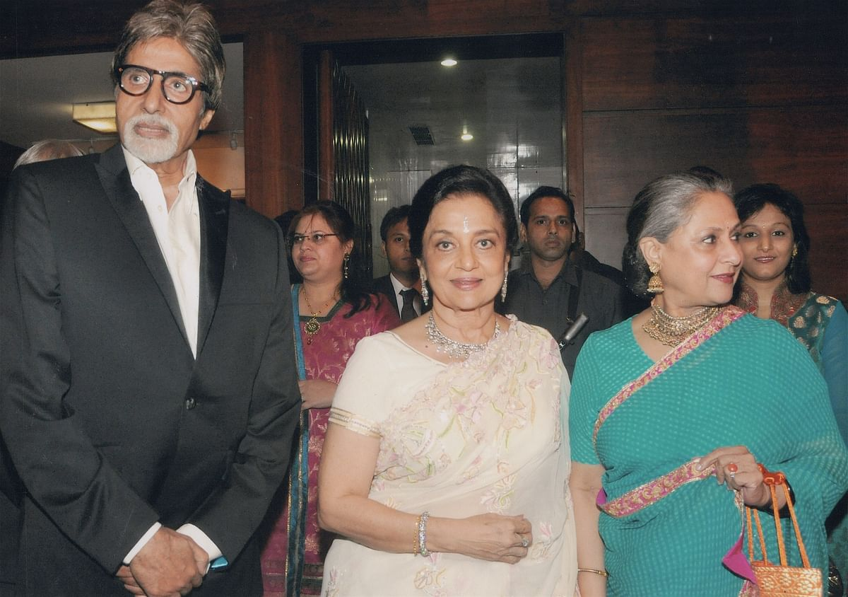 Asha Parekh with Amitabh and Jaya Bachchan who have generously supported her hospital.