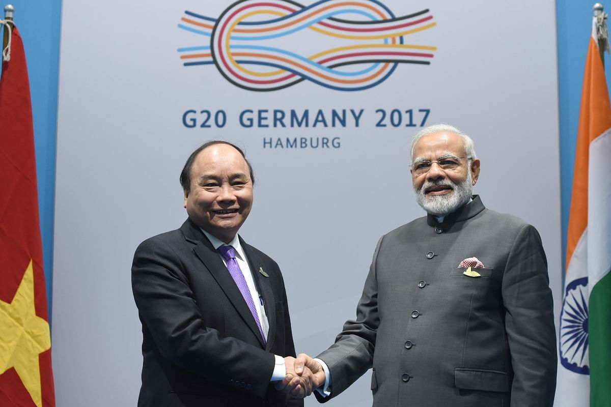 Prime Minister Narendra Modi meets Vietnamese Prime Minister Nguyen Xuan on the sidelines of the 12th G-20 Summit in Hamburg, Germany on 8 July  2017.