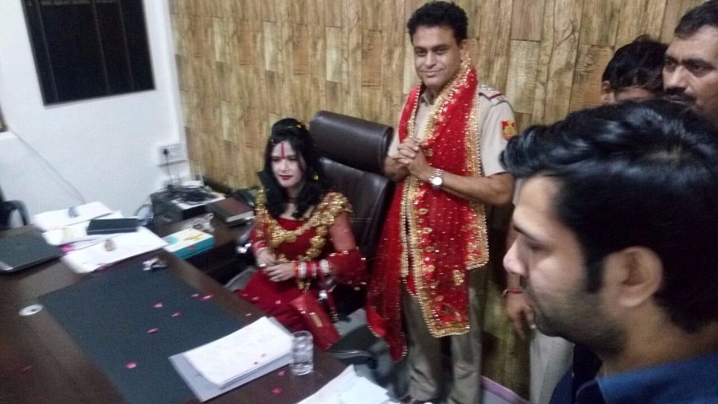Radhe Maa offered the SHO's seat at a police station in New Delhi.