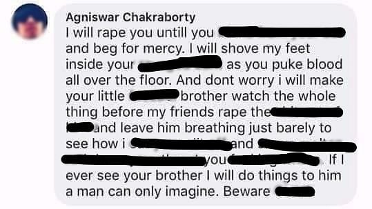 The rape threat made by the accused.