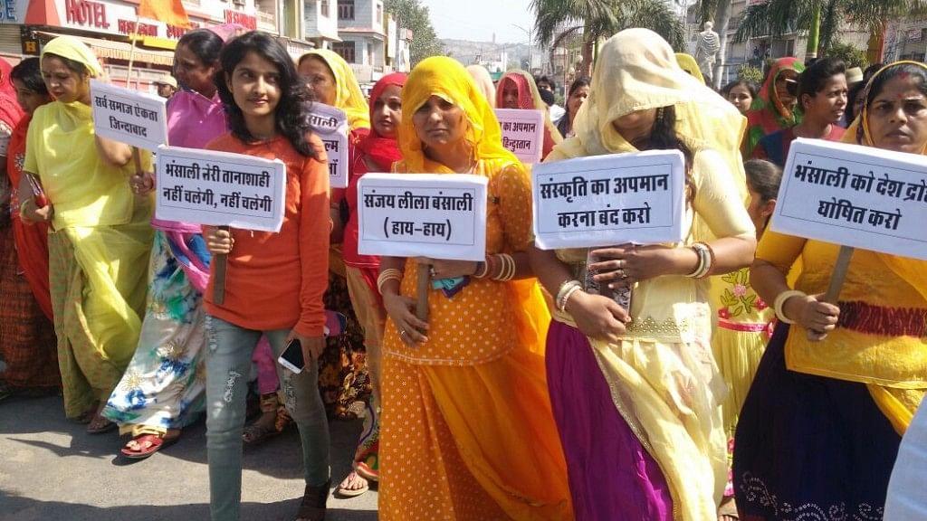 "Karni Rajput Sena, which has been protesting against the release of Sanjay Leela Bhansali's next release, <i><a href=""https://www.thequint.com/big-story/deepika-padukone-padmavati-protest"">Padmavati</a>.</i>"