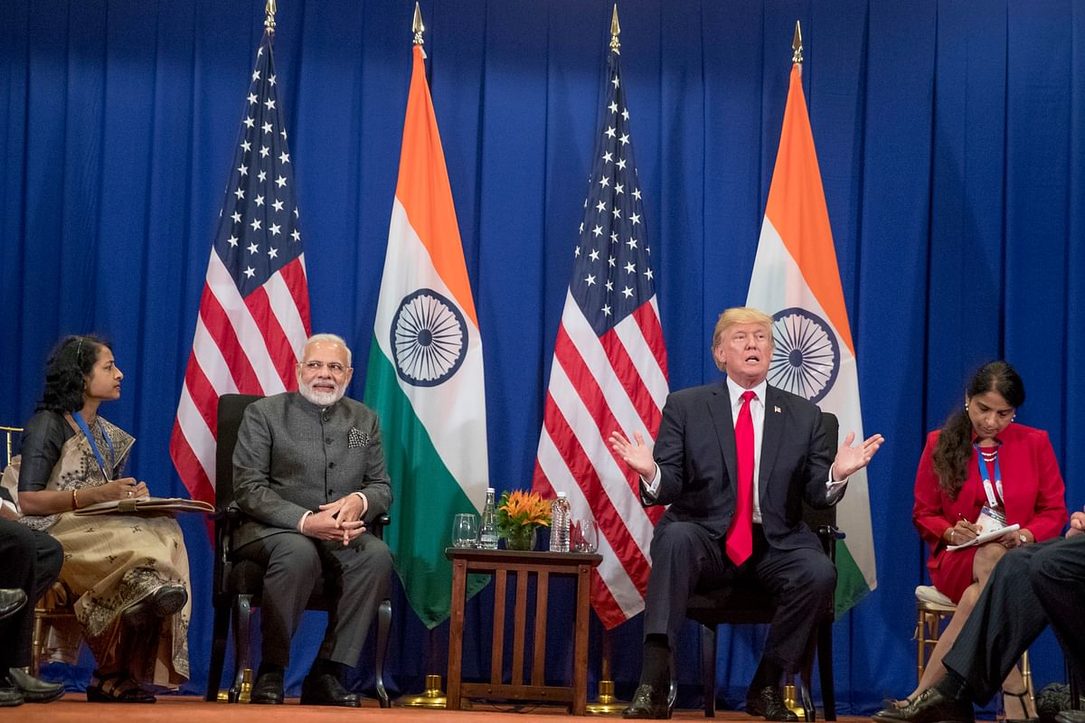 President Donald Trump along with Prime Minister Narendra Modi speak to the media during the ASEAN Summit in Manila, Philippines, 13 November 2017.