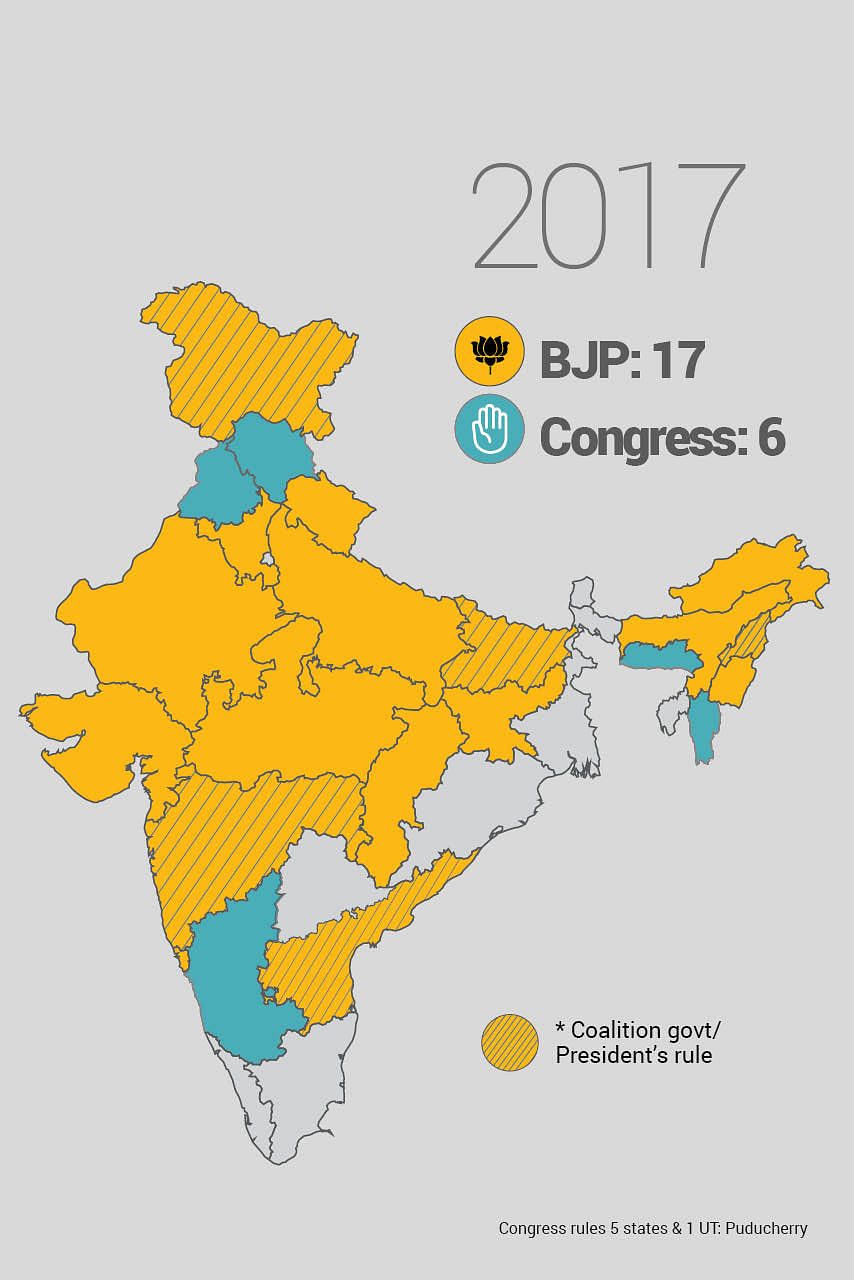 How the BJP went from ruling 0 to 17 states.