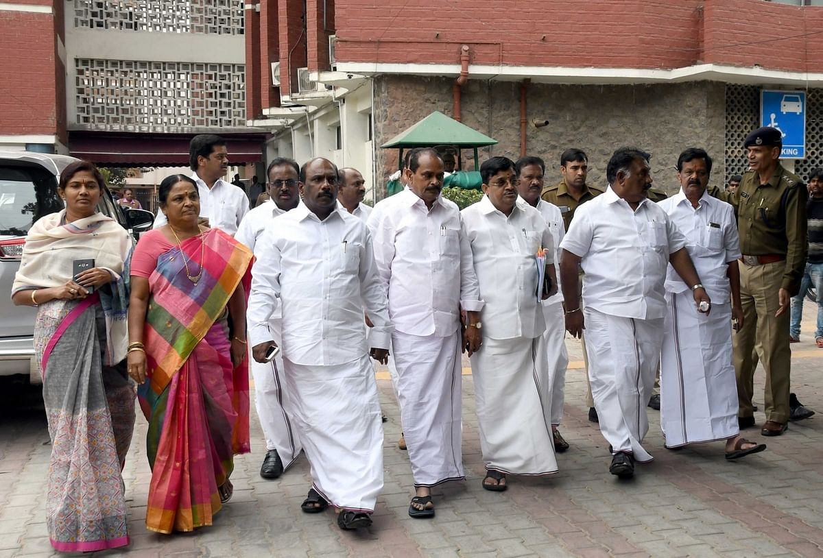 A delegation of AIADMK MPs led by Dr V Maitreyan comes out of the Election Commission in New Delhi, on 16 February 2017.