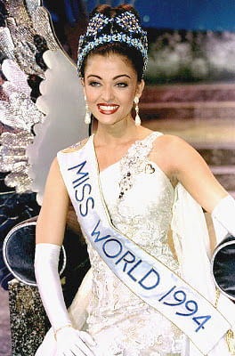 Aishwarya Rai, leading Bollywood actress and model was crowned Miss World in 1994.