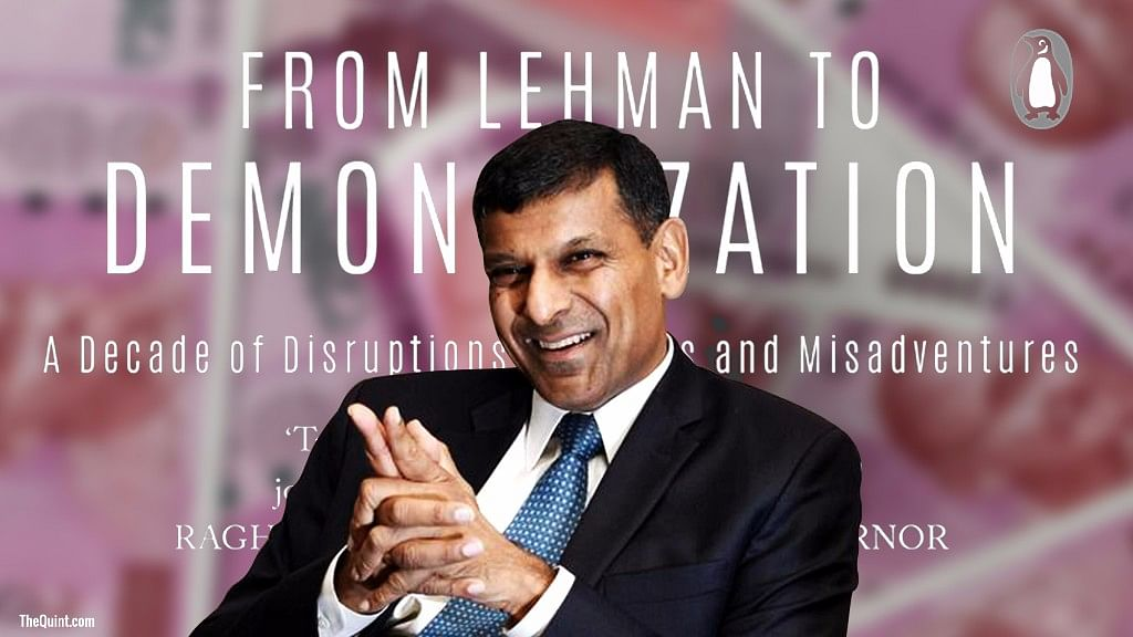 Image of former RBI governor Raghuram Rajan with Tamal Bandyopadhyay's book cover in the background, used for representational purposes.