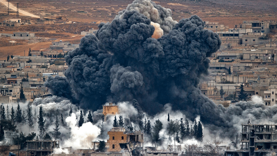 A file photo of smoke rising from the Syrian city of Kobani, following an airstrike by the US led coalition. This image is used for representational purposes.