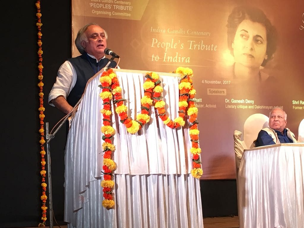 Jairam Ramesh speaks at the event as Kumar Ketkar looks on.