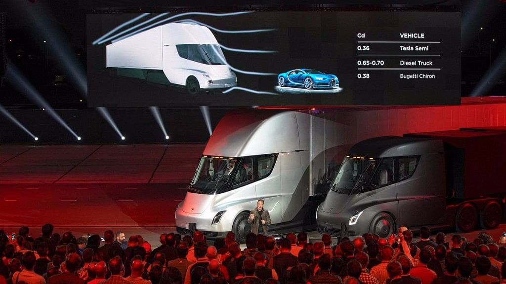 Event where Elon Musk unveiled the semi truck and the Roadster