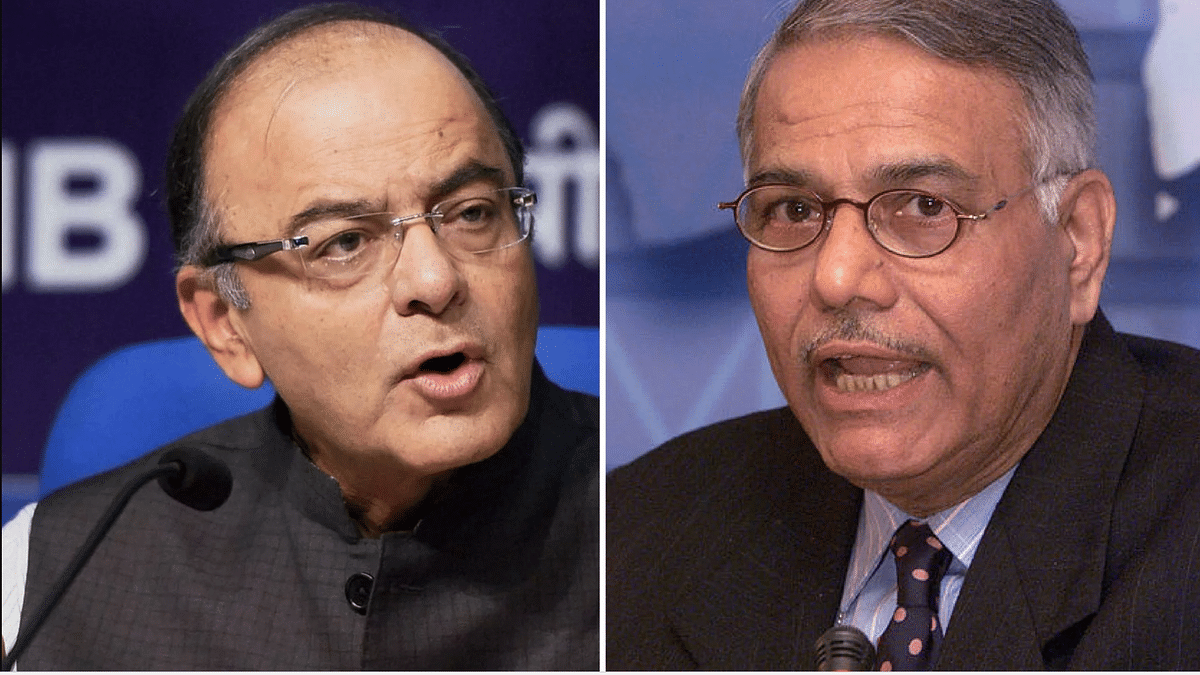 Yashwant Sinha took a few digs at Prime Minister Narendra Modi and Finance Minister Arun Jaitley.