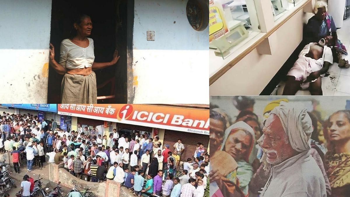 (Clockwise) Sathi Bai died from illness shortly after discovering Rs 4 lakh she had in cash was no longer legal tender; Subramaniam died of a heart attack in a bank in Thanjavur; army veteran Nand Lal crying after three days of visiting the bank to withdraw pension money.