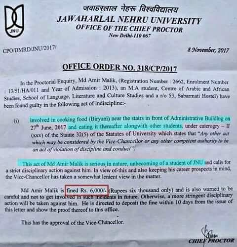 "A proctorial enquiry has called the act ""serious in nature"" and one that's ""unbecoming of a JNU student""."