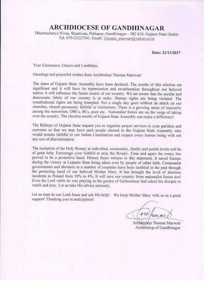 """""""Stop Nationalists,"""" Writes Guj Archbishop, BJP Demands His Arrest"""