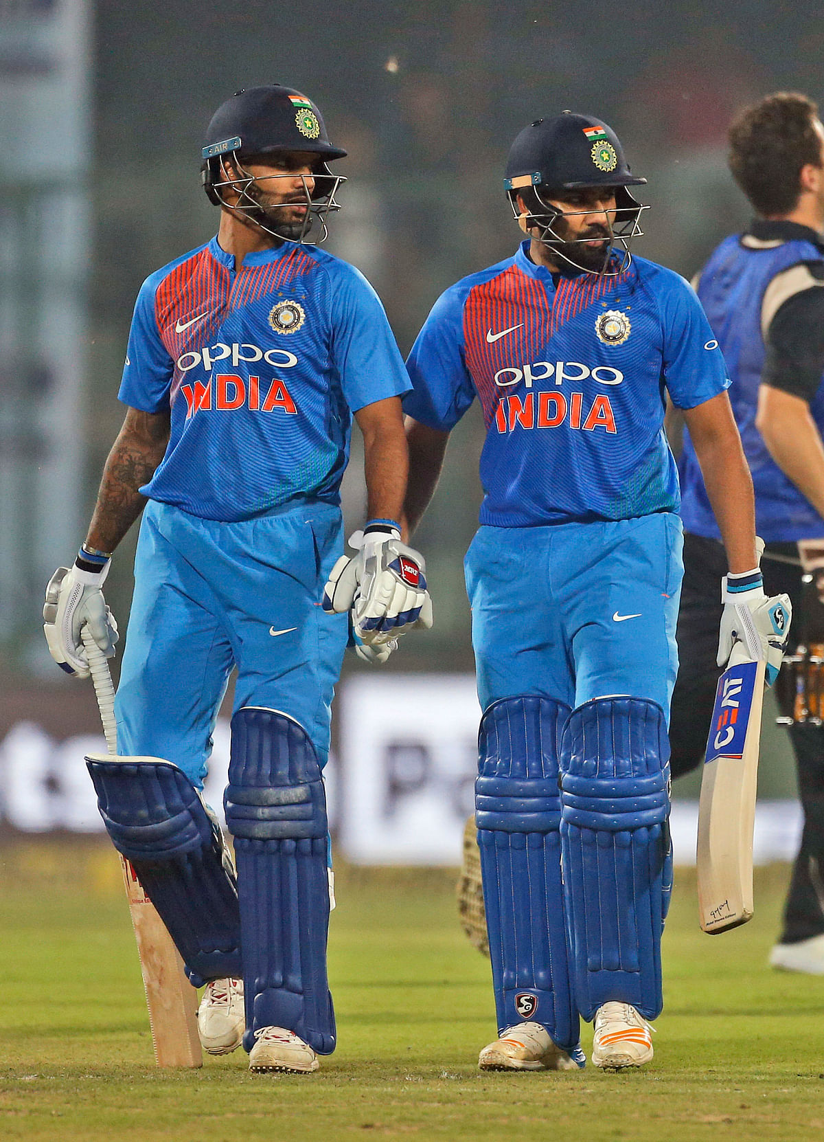 India's Shikhar Dhawan, left, and Rohit Sharma during their first Twenty20 match against New Zealand in New Delhi