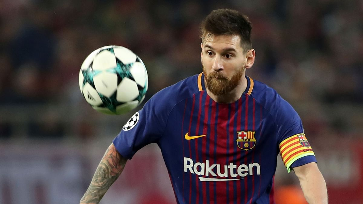 Barcelona's Lionel Messi controls the ball during the Champions League match against Olympiakos.