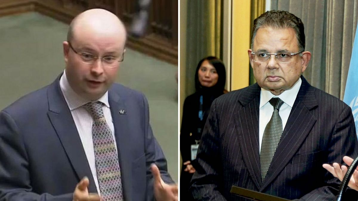 SNP MP Patrick Grady (L) brought up Indian judge Dalveer Bhandari's (R) election to the ICJ after UK lost its seat.