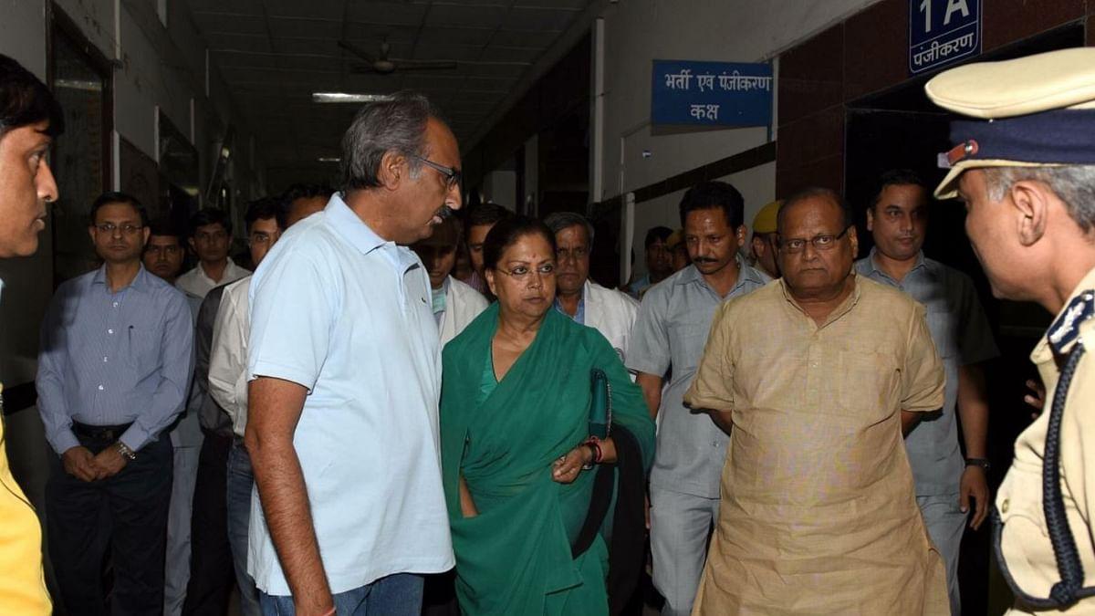 Rajasthan Chief Minister Vasundhara Raje visiting the injured at the SMS Hospital in Jaipur.