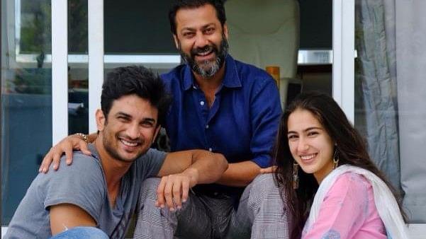 Sara Ali Khan with Sushant Singh Rajput and Abhishek Kapoor.