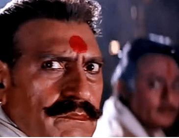 Amrish Puri as Thakur Darjan Singh in <i>Karan Arjun</i> (1995).&nbsp;
