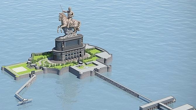 A representation of the proposed Shivaji Maharaj memorial.