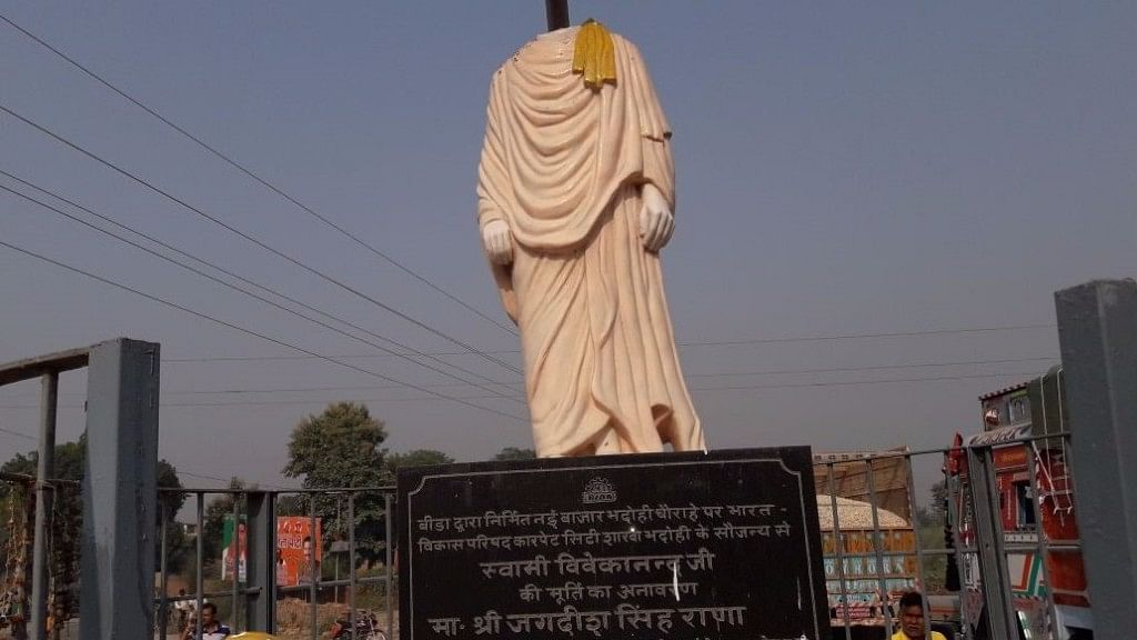 Statue of Swami Vivekananda in Bhadohi, UP, which was  beheaded.