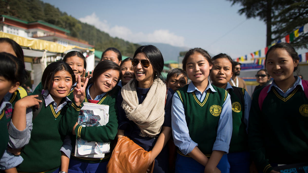 Konkona Sen Sharma with students from neighbouring schools who had come to watch movies in the children's category at DIFF.