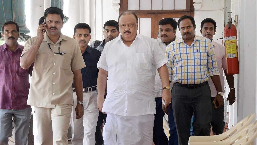 Kerala Transport Minister Thomas Chandy, who is facing encroachment charges, leaves his office at Secretariat in Thiruvananthapuram on Wednesday.