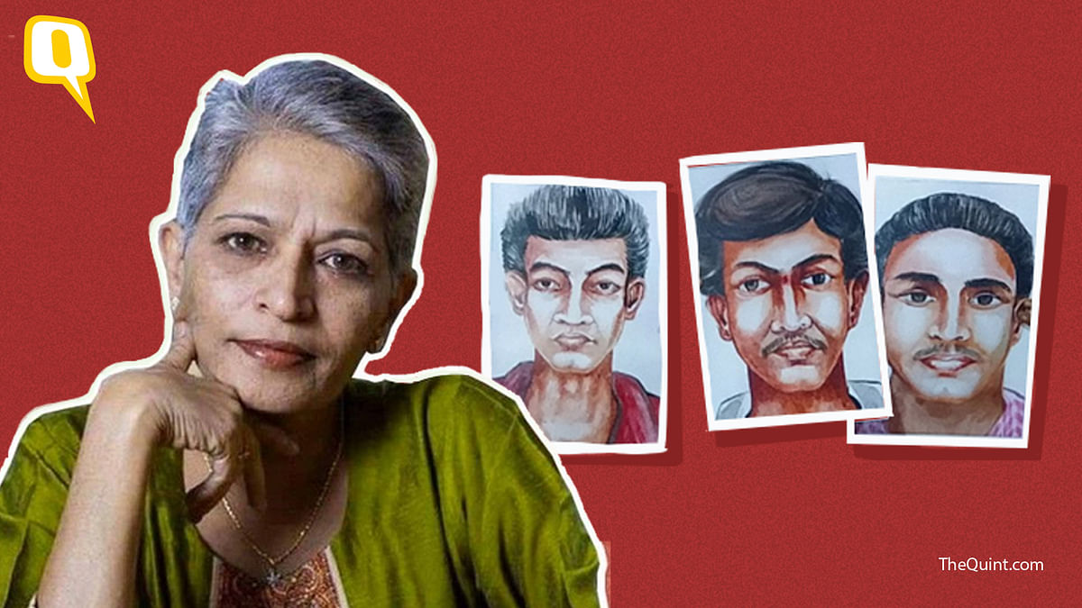 Gauri Lankesh and sketches of the killers released by the SIT.