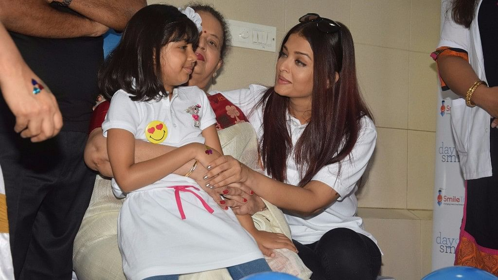 Aishwarya Rai Bachchan shares a moment with daughter Aaradhya.