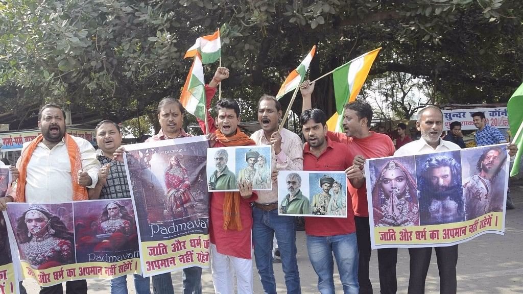 Right-wing activists stage a protest against Sanjay Leela Bhansali's film 'Padmavati' in Patna.
