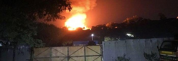The fire at Annapurna Studios.
