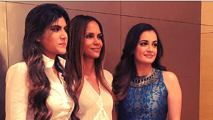 Halle Berry with Ananya Birla (extreme left) and Dia Mirza.