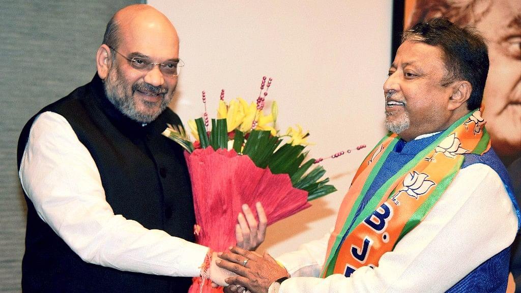 BJP president Amit Shah welcoming Mukul Roy to the BJP on 3 November, 2017.