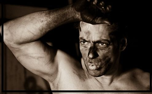 Salman Khan caught in the midst of his painting binge.