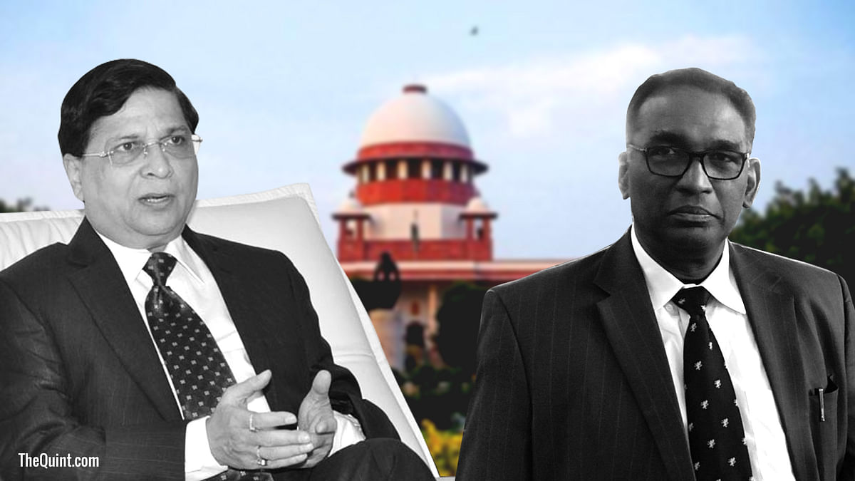 CJI Dipak Misra (left) took exception to an order passed by a bench including Justice Chelameshwar (right) that set up a Constitution Bench to look into allegations of bribery in the judiciary.