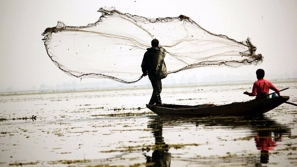 A fisherman casts his net in a freshwater lake in Bandipora district of Jammu and Kashmir.