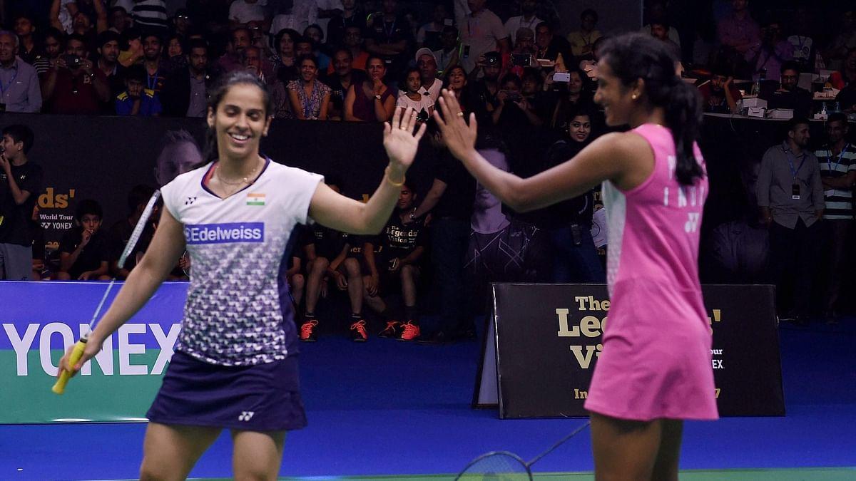 Saina Nehwal and PV Sindhu during a friendly game earlier this week.