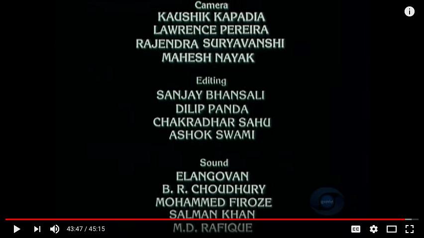 Sanjay Bhansali in the credits for assistant editor on&nbsp;<i>Bharat Ek Khoj.</i>