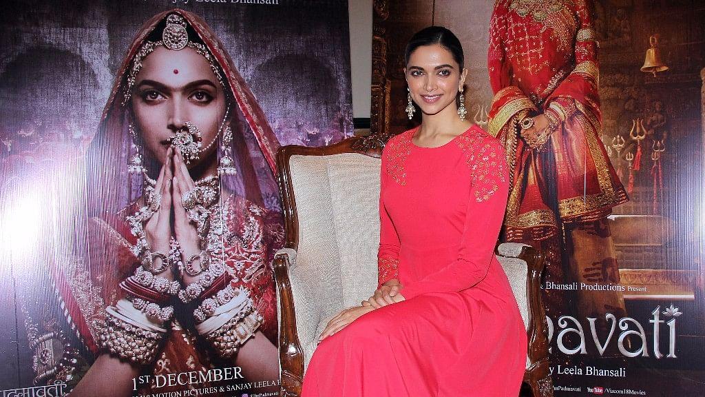 Deepika Padukone promoting her film <i>Padmavati </i>in Mumbai.