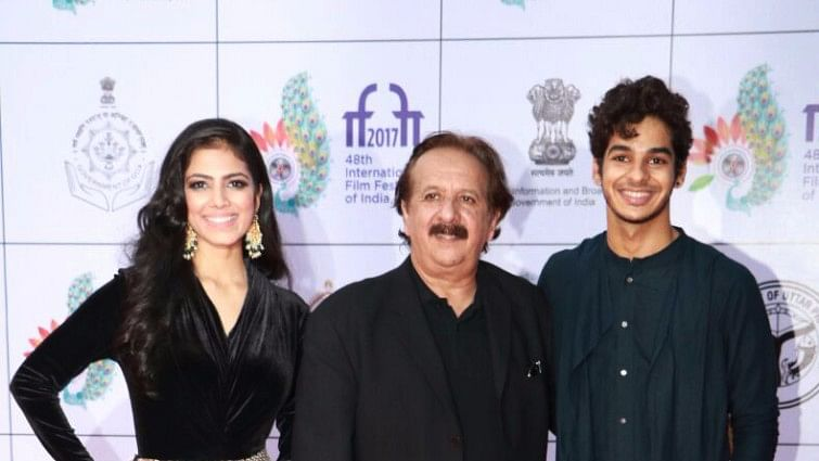 Iranian auteur Majid Majidi with Ishan Khatter and Malavika Mohanan, the cast of his Indian film, <i>Beyond the Clouds </i>at IFFI.