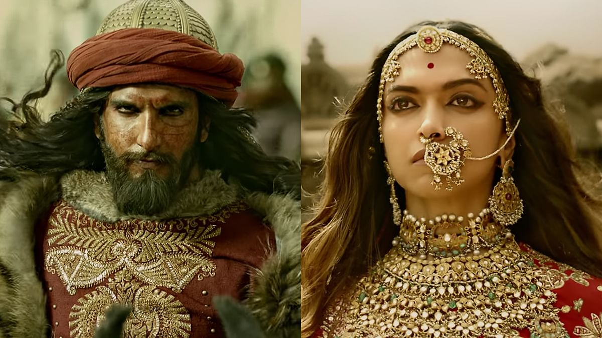 Ranveer Singh as Alauddin Khilji and Deepika Padukone as Padmavati in the film <i>Padmavat</i>.