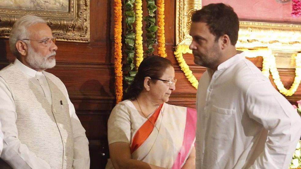 Rahul and Modi  were attending the 147th birth anniversary of Sardar Vallabhbhai Patel