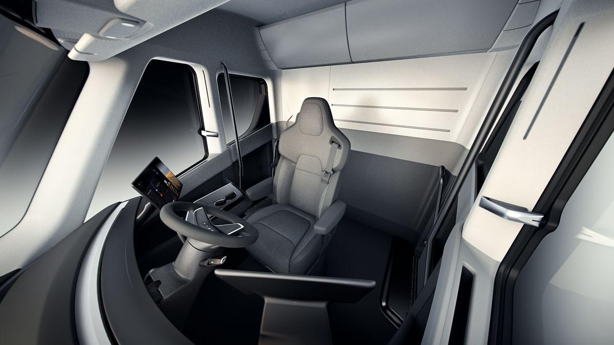 Interiors of the Tesla Semi truck.
