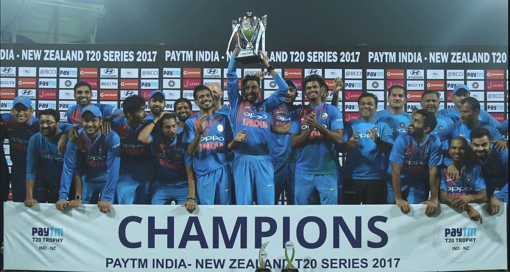 The Indian team poses for a photograph after winning the T20 series against New Zealand.